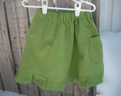 Hemp Organic Cotton Ruffle Toddler Skirt, Avocado color