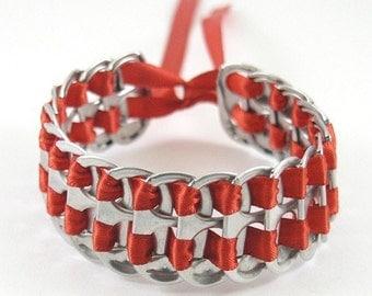red pop tab bracelet 7 inch, stacked weave bracelet, soda tab bracelet, can tab bracelet, upcycled bracelet, recycled bracelet