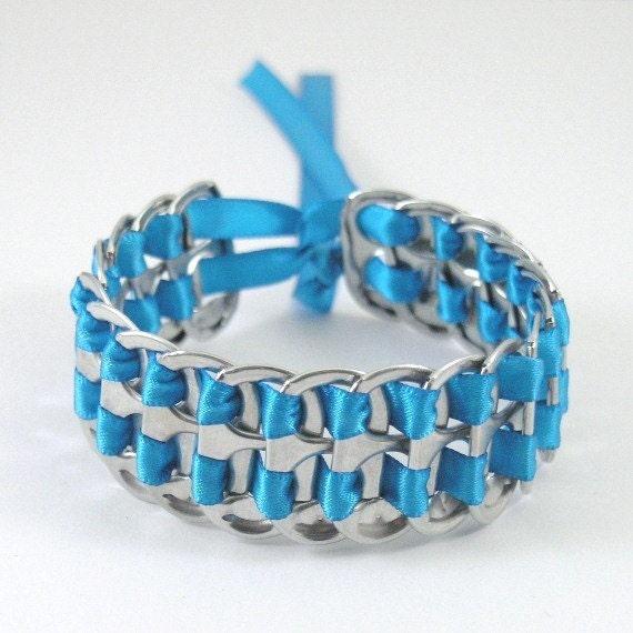 soda tab bracelet blue stacked weave 7 inch