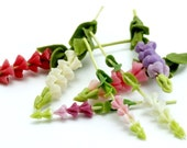 Miniature Polymer Clay Flowers Supplies for Dollhouse, Foxglove 9 stems assorted