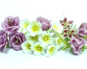 Handmade Miniature Polymer Clay Flowers Supplies 20 stems, Rose-Frangipani-Lily