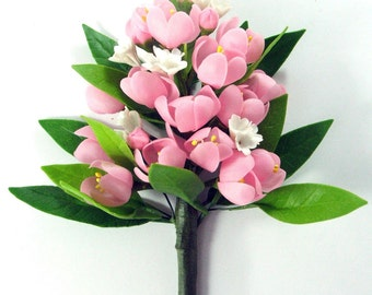 Handmade Miniature Polymer Clay Flowers Peach Blossom Bunch for Bouquet and Handmade Gifts