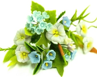 Miniature Polymer Clay Supplies Sweet Blue Flowers 12 bunches