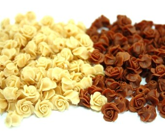 Miniature Roses Polymer Clay Flowers for Beaded Jewelry 24 pcs.