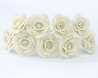 Miniature Polymer Clay Roses Handmade Flowers Supplies for Beaded Jewelry 12 pcs.