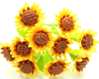 Miniature Polymer Clay Flowers Supplies Golden Sunflowers for Dollhouse, 12 stems