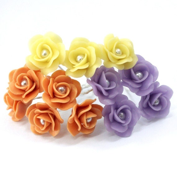Miniature Roses Polymer Clay Flowers Handmade Supplies for Beaded Jewelry 12 pcs.