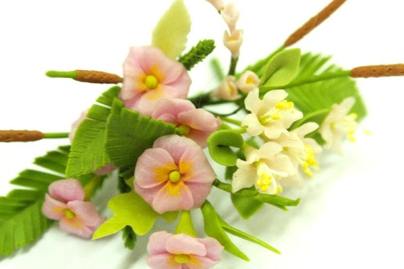 Miniature Polymer Clay Flowers Pink Bouquet Supplies for Dollhouse and Handmade Gifts 12 bunches