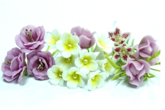 Handmade Miniature Polymer Clay Flowers Supplies 20 stems, Rose-Frangipani-Lily