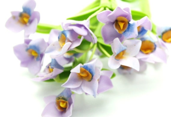 Miniature Polymer Clay Flowers Supplies Royal Purple Orchid 3 stems