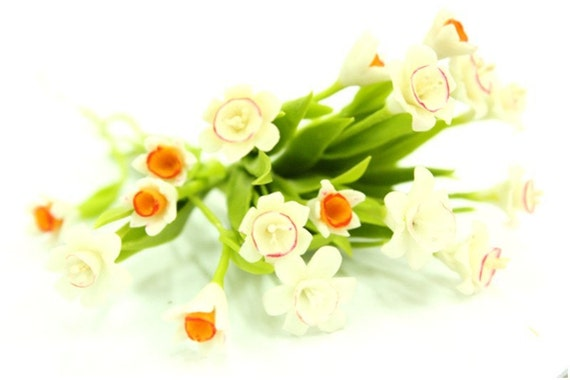 Miniature Polymer Clay Flowers Handcrafted Daffodil 6 stems