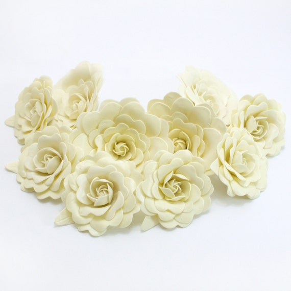 Sweet Creamy Polymer Clay Flowers with leaves, set of 12 stems