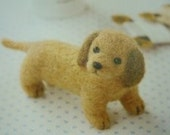 DIY Japanese brown felt wool miniature dachshund dog puppy kit handmade toy craft gift package
