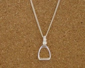 """Stirrup Horse Pendant Sterling Silver Equestrian Gifts 18"""" Chain,Stirrup Jewelry"""
