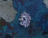 Stunning Marcasite Horse Head Equestrian Horse Ring .925 Sterling Silver - Sizes 6, 7 and 9 Equestrian Gifts