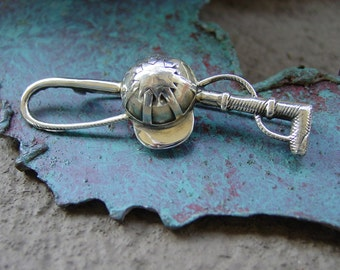 Cap Horse Crop Whip Pin Brooch Sterling Silver,Equestrian Brooch,Horse Jewelry