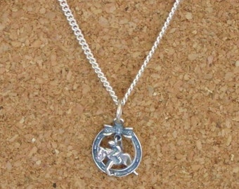 Hunter Jumper in Horseshoe Bow Charm Pendant Sterling Silver with Chain,Equestrian Jewelry,Horse Pendant