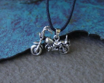 Motorcycle Chopper Sterling Sliver Pendant Wheels Spin Cool on Black Cord