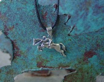 Hunter Jumper Pendant with Adjustable Black Cord,Equestrian Sterling Silver,Equestrian Jewelry