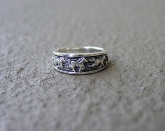 Wild Horse Mustang Full Gallop Ring Sterling Silver Great Detail - Sizes 4 thru 9,Equestrian Jewelry,Horse Ring