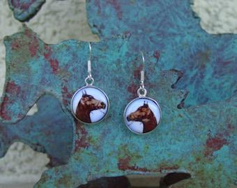 Equestrian Horse Head Enamel Earrings Sterling Silver,Horse Jewelry,Equestrian Earrings