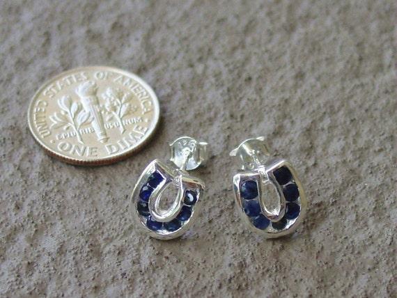 Genuine Sapphire in Horse Shoe Stud Earrings Sterling Silver,Horseshoe Earrings Equestrian Jewelry