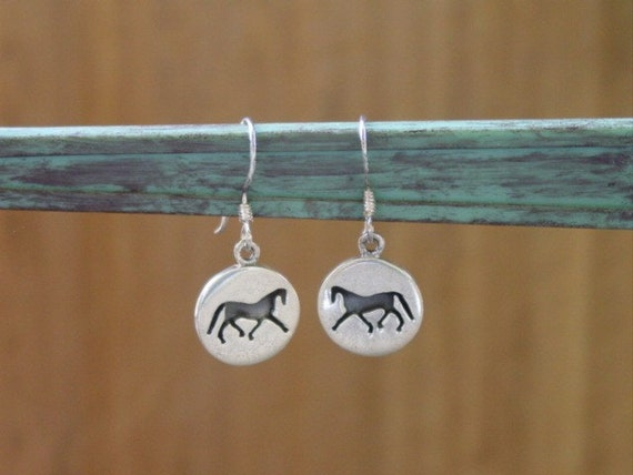Equestrian Silhouette Horse Earrings Sterling Silver,Equestrian Jewelry,Horse Jewelry