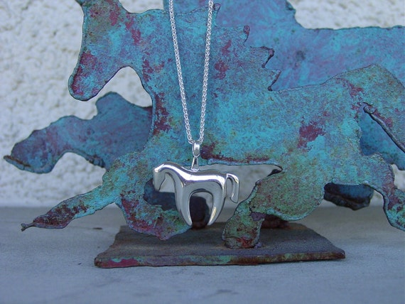 """Picasso Horse Pendant  with 18"""" Chain Equestrian Sterling Silver"""
