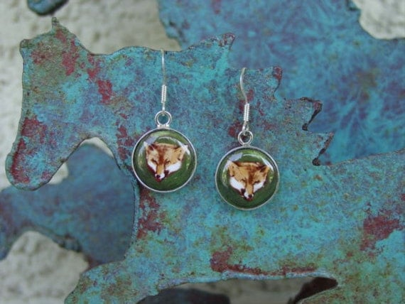 Fox Enamel Earrings Sterling Silver Equestrian Jewelry,Fox Jewelry