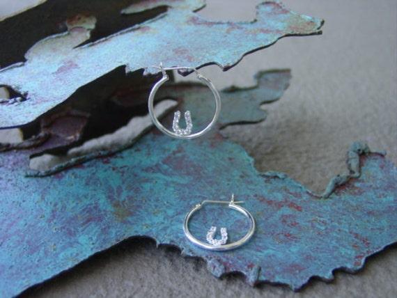 Horseshoe CZ in Hoop Earrings Sterling Silver,Equestrian Jewelry,Horseshoe Jewelry