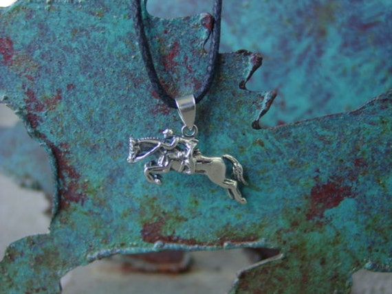 Hunter Jumper Pendant with Adjustable Black Cord,  Equestrian Sterling Silver