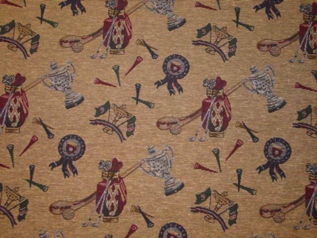 Vintage Golf Club Trophy Tapestry Fabric Rare Oop