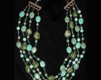 Necklace In Sea Greens And Blues