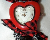 Red, Black and White Heart Bracelet Watch