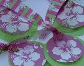 Gift Tags Set of 4 Circle Lime Green and Hot Pink Hawaiian Floral