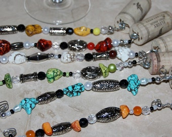 Wine Cork Wire Wrap Glass Charms Colorful