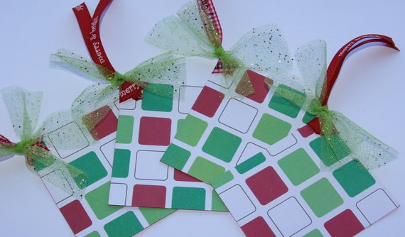 Christmas Gift Tags Set of 4 Stamped On Other Side