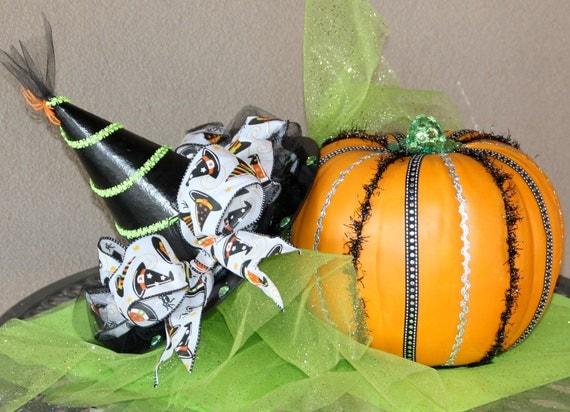 Witch hat paper mache and foam pumpkin centerpiece set