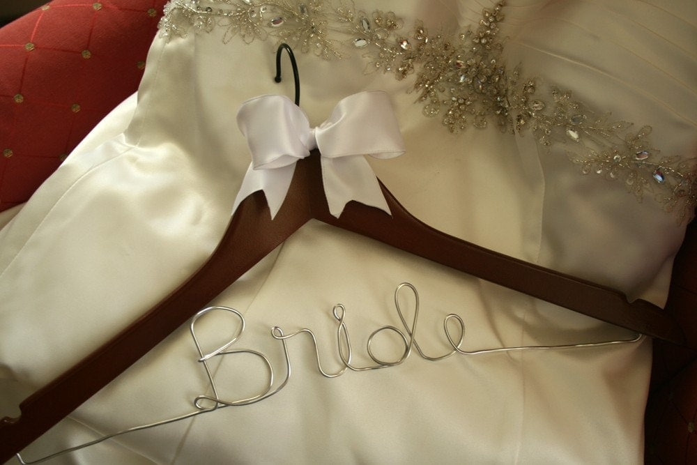 Wedding hanger wedding dress hanger personalized by for Personalised wedding dress hanger
