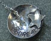 Dream Star Stamped Sterling Silver Crystal Necklace