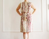 Silk Red and White Striped Dress M/L