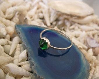 Emerald  Green Zircon Silver  Stacking  Ring - May birthstone