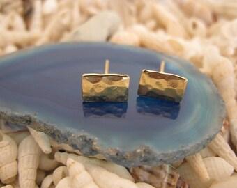 14k  gold rectangle studs post earrings