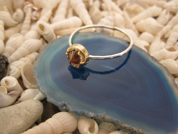 Light Brown - Topaz - Champagne Cubic Zircon  Gold Bezel and Silver Stacking ring