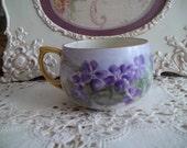 Antique Handpainted Violets Teacup