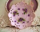 Vintage Violets Tiny Small Scalloped Plate Child Size