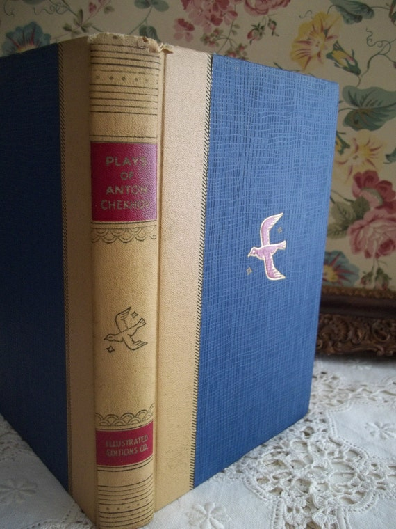 VIntage Theater Plays by Anton Chekhov Pretty Book Cover Jacket Hardcover c. 1935