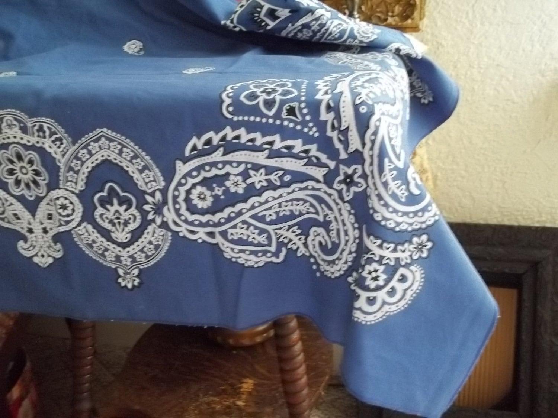 Blue Bandana Table Cloth By Thinkvintagemurphy On Etsy