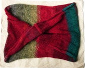 Red Olive Teal Striped Mohair Warm Winter Wrap