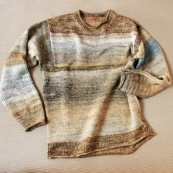 Sandstone size S Mens (M Womans ) Knit Cotton Tape and Kid Mohair Sweater